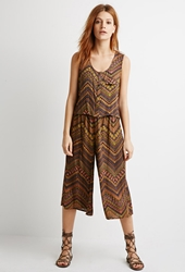 Forever 21 Abstract Chevron Print Top Rust Charcoal