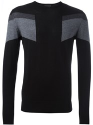 Les Hommes Colour Block Jumper Black