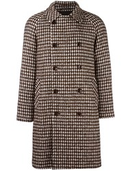 Tagliatore Houndstooth Pattern Coat Brown