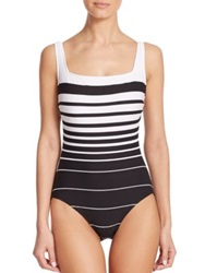Miraclesuit Swim One Piece Striped Underwire Swimsuit Black White