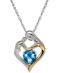 Macy's Blue Topaz 1 5 8 Ct. T.W. And Diamond Accent Mother And Child Pendant Necklace In Sterling Silver And 14K Gold