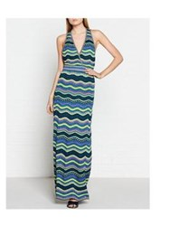 M Missoni Stripes And Stars Plunging Neckline Knitted Maxi Dress Multicolour