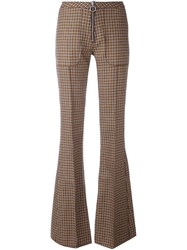 Marques Almeida Marques'almeida Checked Bootcut Trousers Orange