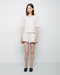 Raquel Allegra Leather Combo Shorts Ivory
