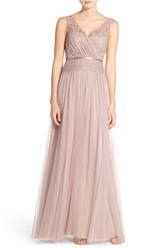 Women's Jenny Yoo 'Sutton' Double V Neck Lace And Tulle A Line Gown