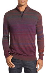 Men's Bugatchi Stripe Merino Wool Quarter Zip Sweater