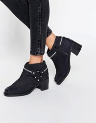 Asos Raul Leather Harness Ankle Boots Black