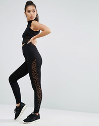 Asos Leggings With Leopard Mesh Side Stripe Black