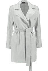 James Perse Linen Trench Coat Gray