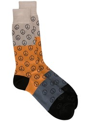 Paul Smith Peace Sign Socks Blue