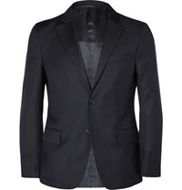 Officine Generale Navy Slim Fit Wool Blazer Blue