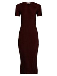 Simon Miller Odessa Ribbed Knit Wool Dress Burgundy