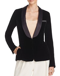 Elizabeth And James Ambrose Satin Lapel Velvet Blazer Black