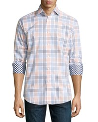 Neiman Marcus Classic Fit Large Check Sport Shirt Orange Blue White
