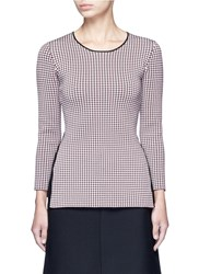 Alexander Wang Keyhole Split Houndstooth Knit Top Multi Colour
