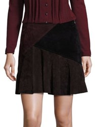 Nanette Lepore Sultry Suede Colorblock Skirt Chocolate