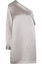 Michelle Mason One Sleeve Silk Satin Mini Dress Silver