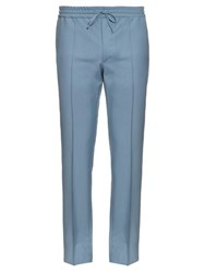 Valentino Wool And Mohair Blend Track Pants Light Blue