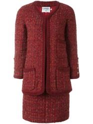 Chanel Vintage Boucle Suit Red