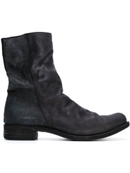 A Diciannoveventitre Distressed Zipped Boots Black