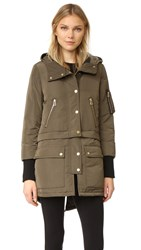 Veronica Beard East End Parka Puffer Coat Army Green