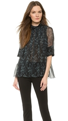 Vera Wang Long Sleeve Trapeze Top Charcoal