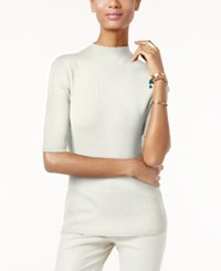 Inc International Concepts Mock Turtleneck Ribbed Sweater Only At Macy's Washed White