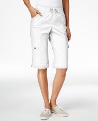 Styleandco. Style And Co. Sport Petite Cuffed Hem Capri Cargo Pants Only At Macy's Bright White