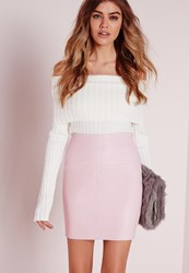 Missguided Faux Leather Mini Skirt In Pink Pink