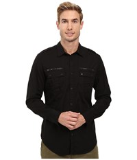 Calvin Klein Jeans Modern Military Dye Shirt Black Men's Long Sleeve Button Up