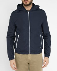 Ikks Blue Hooded Waterproof Jacket With Ribbed Collar