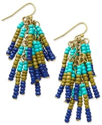 Macy's Gold Tone Beaded Fringe Chandelier Earrings Turquoise