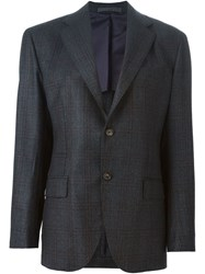 Eleventy Stitch Detail Checked Blazer Grey
