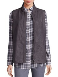 Lafayette 148 New York Leather Kaelyn Vest Graphite