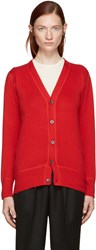 Hyke Red Cotton And Cashmere Cardigan