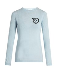 Bella Freud El Vera Cat Intarsia Knit Wool Sweater Light Blue