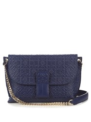 Loewe Avenue Leather Cross Body Bag Navy