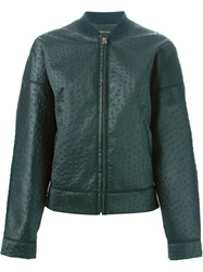 Cedric Charlier Cedric Charlier Ostrich Texture Bomber Jacket Green