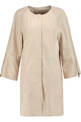 Amanda Wakeley Oversized Leather Coat Nude