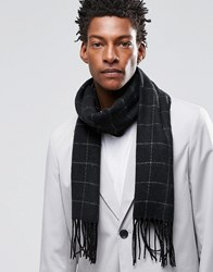 Asos Woven Scarf In Grid Check Black