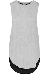 Haute Hippie Two Tone Modal Jersey And Crepe Tank Gray