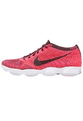 Nike Performance Flyknit Air Zoom Agility Sports Shoes Bright Crimson Deep Burgundy Pink Blast White Red