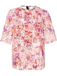 Msgm Ruffled Front Shortsleeved Blouse Pink Purple