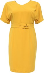Lost Ink Curve Pencil Dress With Double Belt Yellow