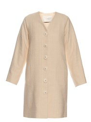 Adam By Adam Lippes Single Breasted Cotton Coat Beige
