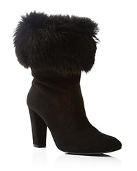 Delman Lexie Suede And Shearling Cuff High Heel Booties Black Black