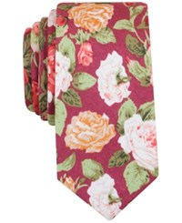 Bar Iii Orchid Floral Tie Only At Macy's Burgundy