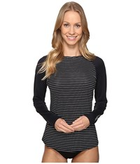 Carve Designs Sunset Rash Guard Black Aruba Stripe Women's Swimwear