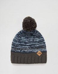 The North Face Ski Tuke Bobble Beanie In Black Blue