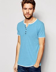 Esprit 2 In 1 Henley T Shirt Turquoise Blue